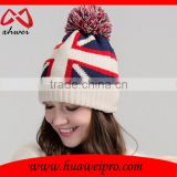 Wholesale Latest Girl Beanie Top Ball Knit Hat Beanie Warm Cotton Winter Beanie Hat Custom for Lady