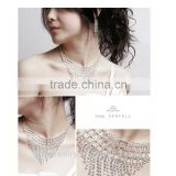 China jewelry wholesale 2015 new bling prong white rhinestones long tassel bridal jewelry set