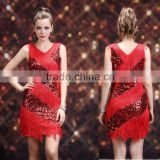 2016 High Quality Sexy Red Skirt Latin Dance Costumes for Women Cheap Latin Fringe Dress on Sale