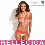 RELLECIGA Lace Bikini Series - Neon Yellow + Red Lace Triangle Brazilian Bikini Set with Scrunch Bottom