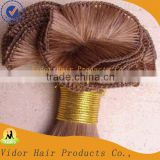 Most popular factory price stock 100% human hair hand tied weft virgin remy brazilian hair extension