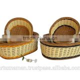 Cheap rattan bread basket / Eco-friendly rattan laundry basket / rattan cutlery basket from Vietnam