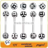 TR01034 tongue barbell colored jewelry for tongue piercing