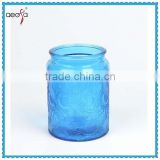 wholesale round tube blue red black glass candle holder