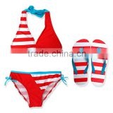 Koya factory wholesale 2 pieces kids bikini swimwear wide strip children swimming suit for baby girl kid designer swimsuits