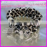 KJL-BD5236 Wholesale 10mm Nature Black White Faceted Polished Football Agate Beads Bracelet Alloy palmation Heart