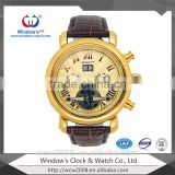 2015 Top Selling Classic Mechanical Automatic Movement Stainless Steel Back Leather Watch Automatic,Watch For Men