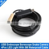 5m Waterproof USB Tube Wired Drain Inspection Camera Snake Camera Waterproof Wire Endoscope 4 White LEDs