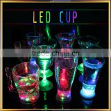 Popular led glowing wine cup, plastic led flashing beer cup
