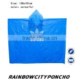 disposable one time PE rain cape poncho for promotion with logo printing