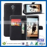 C&T BookStyle PU Leather Wallet Flip With 2 Credit / Debit Card Slot Case Skin Cover for HTC Desire 620