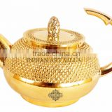 IndianArtVilla Beautiful Design Shining Brass Round Lining Tea Pot 450 ML - Serving Tea Coffee Tableware Decorative Home Hotel