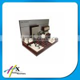 Wood Veneer Finish Stainless Steel Watch Display