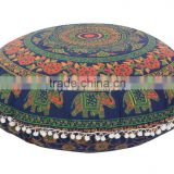 Large Mandala Mantas Floor Pillow Cover Decorative Throw Indian Elephant Pillow Case Boho Meditation Outdoor Cushion