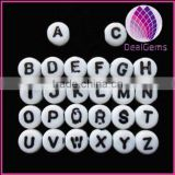 Bead mix, acrylic, white with black alphabet letter, 7x3mm double-sided flat round with 1mm drill hole.