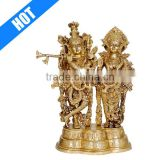 Personalized Hand Crafted Painted Brass Radha Krishna Statue