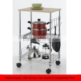 Chrome 3-Tier Wire Kitchen Cart Microwave Stand