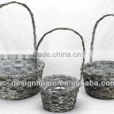 S/3 BLACK WASH ROUND BAMBOO CHIP BASKET W/HANDLE