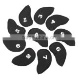 Black 10pcs/set Golf Club Iron Putter Head Cover HeadCover Protect Set Neoprene