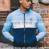 92% Polyester 8% Elastane Navy/White/Blue Mens Full Zipper Outdoor Performance Jacket Baseball Jacket Gym Tracksuit Top