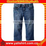 Custom new style fashion comfortable dark blue print 100%cotton mix size cute girls wholesale kids jeans