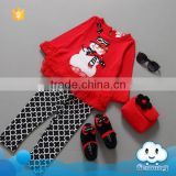 Hot selling baby girls wear red christmas clothes set snow pattern dot polka bodysuit kids clothing suit