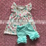 New arrival summer baby girls outfits Ice cream print flutter sleeve dress matching icing shorts set