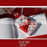 2015 festival Chinese red Wedding Guest Book with brooch with bow/red flower pattern Wedding Pen stand with ball pen