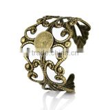 Copper Adjustable Rings Filigree Flower Antique Bronze Cabochon Settings 18.7mm 10 PCs Ring Setting