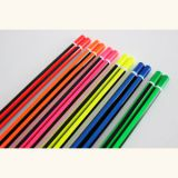 Neon Pencils with Stripe Coating, with DIP End, Wooden Pencil Hb