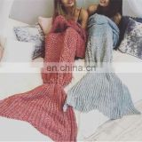 Handmade crotched mermaid charming colorful tail blanket adult kids knit throw bed wrap blanket