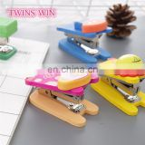 Promotional Korean new style stationery office use Multifunction fancy wood mini animal shaped stapler