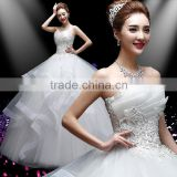 C23351B wholesale women fashion white and red ball gown wedding dress