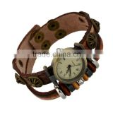 Vintage watch bracelet beaded brown leather bracelet handmade wrap cute wrist jewelry accessories