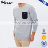 2016 Grey Pullover Sweatshirts for Men O neck Chest Pocket