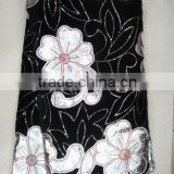 j195-4 black color korea velvet fabric with pu for african dresses