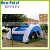 Inflatable arched tent in blue and white