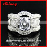 2014 high quality factory design 925 sterling silver luxury big diamond wedding ring set