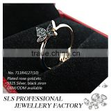 2015 fashion butterfly and flower cubic zirconia black plated 925 silver wedding ring for women