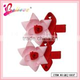 Elegant ribbon flower hair accessories factory produce ribbon bow rose fancy bobby pins (QRJ-0037)