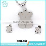 Yiwu Jewelry Wholesale Lovely 316 Stainless Steel Bear Necklace Set
