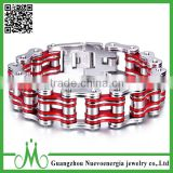 Jewelry Stainless Steel Mens Motorcycle Bike Chain Bracelet Fashion Link Bangle Silver Red Heavy Metal