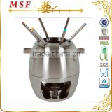 MSF-3500 Upmarket kitchenware stainless steel chocolate fondue set 10pcs melting pot fondue pots