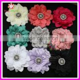 "4"" Satin rhinestone flower, satin flower, chiffon hair flower"