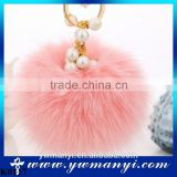 Pearl Fur Keychain Genuine Rabbit Fur Ball Pearl Pendant Key Chain KeyRing Fur Keychain K0117