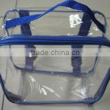 plastic vinly pvc tote bag, clear pvc bag with blue binding strap, clear clothes storage bag