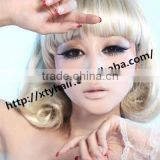 wholesale alibaba charming blonde color synthetic wig with fringe (bang) aliexpress hair machine made wigs with bangs