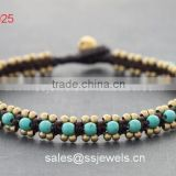 High Quality Thailand Brass Bell Jewelry Handmade Turquoise Beaded Wrap Bracelets Wholesales