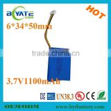 603450 3.7v 1100mah li-ion rechargeable battery medical equipment/LED light battery/muscle stimulators                                                                         Quality Choice