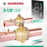 "Sanrong 3-1/8"" 2-5/8"" ODF Solder Manual Refrigeration R134a Ball Valve with Access Port, GBC Ball Valve for Air Conditioning"